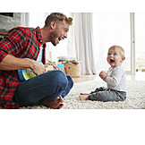 Father, Laughing, Son, Playing Music
