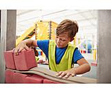 Boy, Building Activity, Building Construction, Bricks