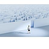 Business Woman, Challenge, Labyrinth, Maze