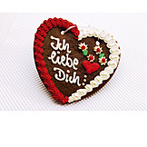 Valentine, Gingerbread Heart, Love Message