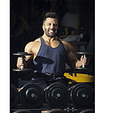 Muscle sports, Workout, Bodybuilder, Dumbbell training