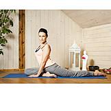 Young Woman, Home, Gymnastics, Yoga Exercises