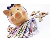 Euro, Sparschwein, Bargeld, Ersparnisse
