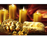Christmas cookies, Candlelight, Christstollen