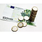 Euroschein, Euromünzen, Bargeld