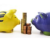 Euro Coins, Piggy Bank, Savings