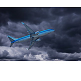Airplane, Flying, Storm