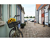Bicycle, Old Town, Idyllically, Scandinavia