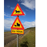 Animals, Iceland, Warning Triangle