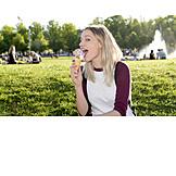 Woman, Eating, Ice