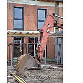 Hausbau, Baustelle, Baggerschaufel