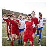 Girl, Soccer, Team Spirit, Ecstatic, Boys