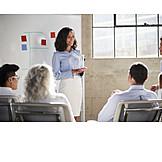 Geschäftsfrau, Präsentation, Whiteboard