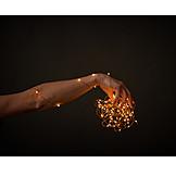 Hand, Christmas Lights