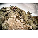 Extreme sports, Summit, Mountain bike, Mountain biker