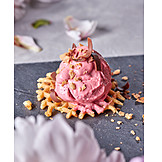 Dessert, Erdbeereis, Waffel