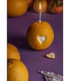 Orange, Heart, Candle