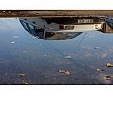 Car, Water Reflection, Puddle