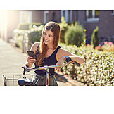 Young Woman, Bicycle, Navigation, Mobil, Smart Phone