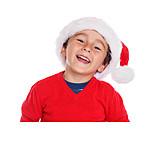 Boy, Laughing, Santa Hat