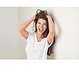 Woman, Laughing, Hair