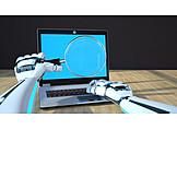 Computer, Research, Magnifying Glass, Robotics
