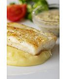 Fischgericht, Kartoffelbrei, Heilbutt