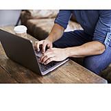 Cafe, Typing, Laptop
