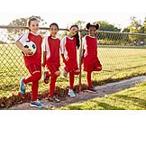 Mädchen, Fußball, Team