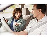 Autofahrt, Ehepaar, Meinungsverschiedenheit