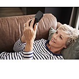 Woman, Enthusiastic, Online, Smart Phone