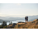 Couple, Embracing, Hiking, View