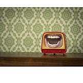 Retro, Fernseher, Gebiss