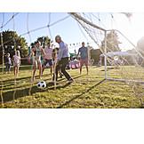 Soccer, Playing, Familiy Celebration