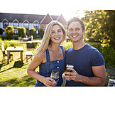 Couple, Drinking, Garden