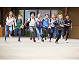 Rennen, Schüler, Schulschluss
