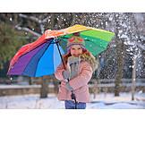 Girl, Winter, Umbrella