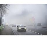 Nebel, Straße, Autos