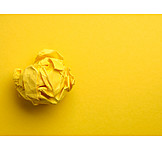 Yellow, Ideas, Creativity, Discarded, Paper ball