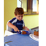 Boy, Eating, Chocolate Cake