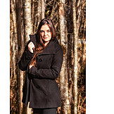 Woman, Forest, Winter coat