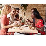 Eating, Restaurant, Italian, Friends