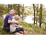 Enkel, Großvater, Natur, Pause
