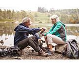 Tea break, Outdoor, Hiking vacation, Older couple