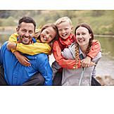 Glücklich, Familie, Wanderung, Gruppenbild