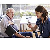 Senior, Measuring, Blood Pressure, Doctor