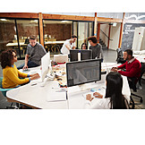 Team, Colleagues, Computer Workstation