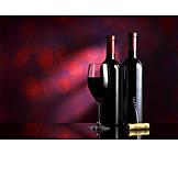 Weinflasche, Rotwein, Rotweinglas