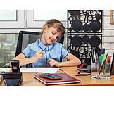 Mädchen, Büro, Schreibtisch