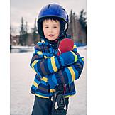 Child, Skiing, Helmet